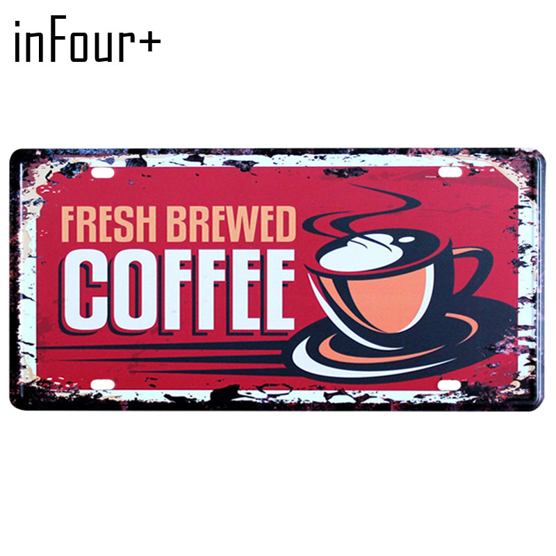 [inFour+] New Fresh Coffee Plate Metal Plate Car Number Tin Sign Bar Pub Cafe Home Decor Metal Sign Garage Painting Plaques Sign