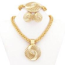 Tai Chi chino Joyería Dubai Oro Plateó Sistemas de La Joyería Collar de Boda Africanos Moda Nigerianos Joyería de Fantasía de cristal