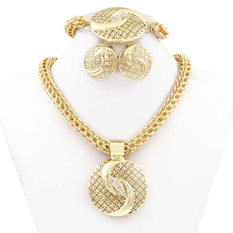 Liffly Dubai złota biżuteria zestawy dla kobiet duży naszyjnik moda nigerii afryki ślubne kryształ kostium zestaw biżuterii ślubnej