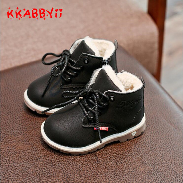 KKABBYII 2017 New Winter For Child Kid Girl Boy Snow Boots Comfort Thick  Antislip Short Boots Fashion Cotton-padded Shoes 21-30 46aaa8d07667