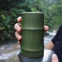 Bamboo Creative Mug Coffee Mug Ceramic Milk Mug Office Meeting Tea Mug with Spoon