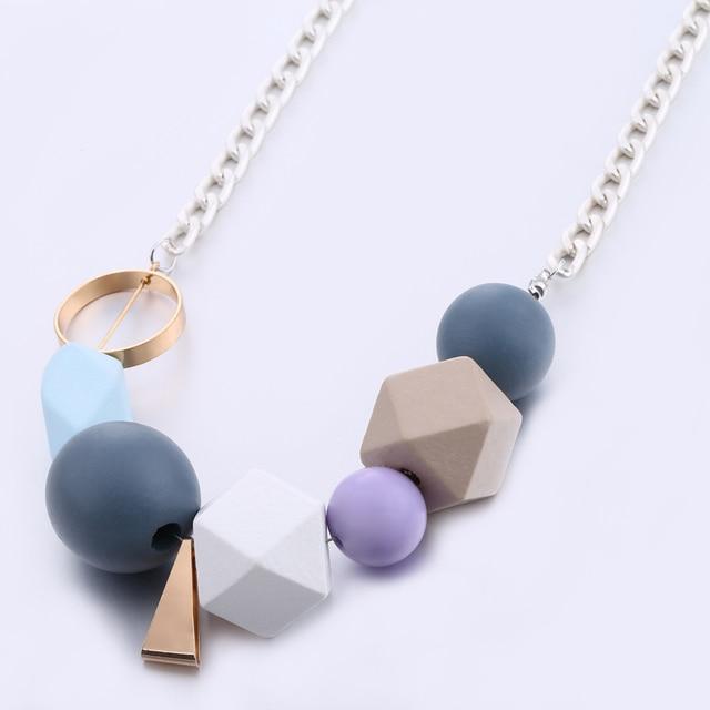 Perline di Legno colorate Dichiarazione Collana delle Donne Multicolore Perline di Legno Collane & Pendenti Monili di Nuovo Modo di Arrivo MX027