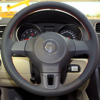 Genuine Leather Car Steering Wheel Cover for Volkswagen Golf Polo Bora Jetta Santana Jetta Polo Steering cover Free Shipping