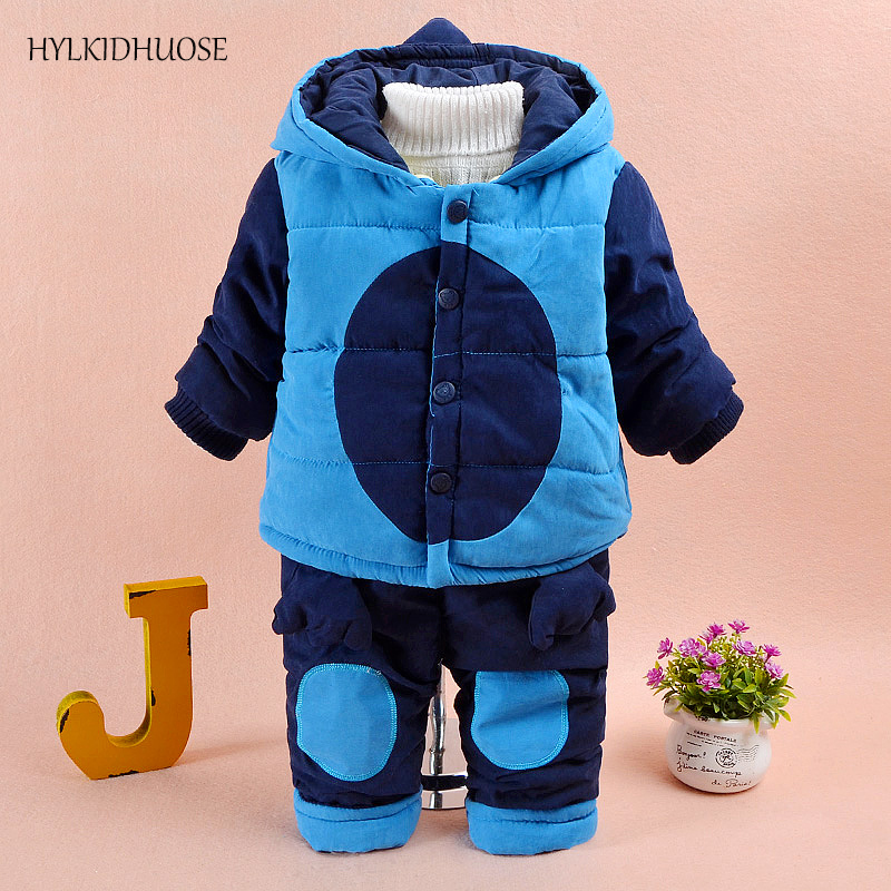 HYLKIDHUOSE 2017 Winter Infant/Newborn Clothes Suits Warm Thick Baby Girls Suits Hooded Coats+Pants Children Kids Outdoor Suits toddler girls hello kitty clothes set winter thick warm clothes plus velvet coat pants rabbi kids infant sport suits w133