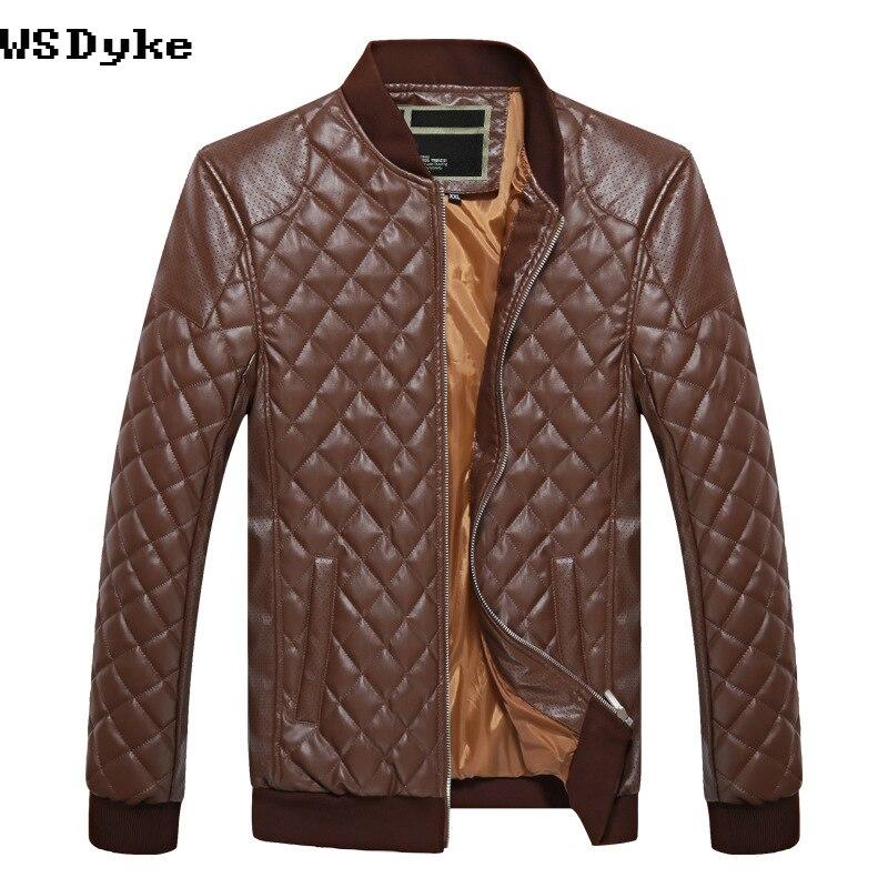 Blouson Fashion Homme Slim Stand Argyle Pu Moto Collar Veste Fit wppgx