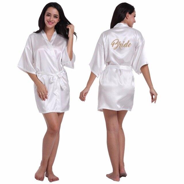 Fashion Silk Bride of Mother Robe with Gold Letter Sexy Women Short Satin Wedding  Kimono Sleepwear Get Ready Robes S-XXL 0b5c05345