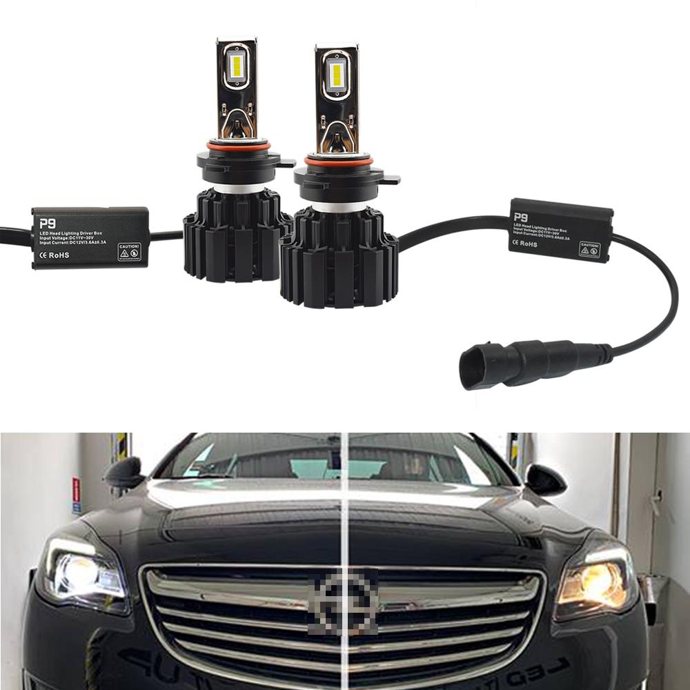 9012 HIR2 P9 LED Headlight Headlamps Bulbs Kit 100W 13600LM LED Chips 6000K For Opel Insignia 1st. Gen. FL (2017)