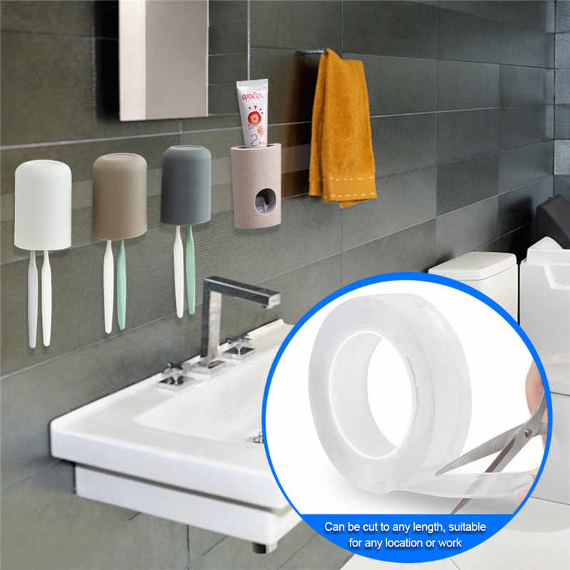 Fita adesiva lavável traceless da fita adesiva do gel fita adesiva reutilizável 1/2/3/5 m fita adesiva dupla face multifuncional reusável