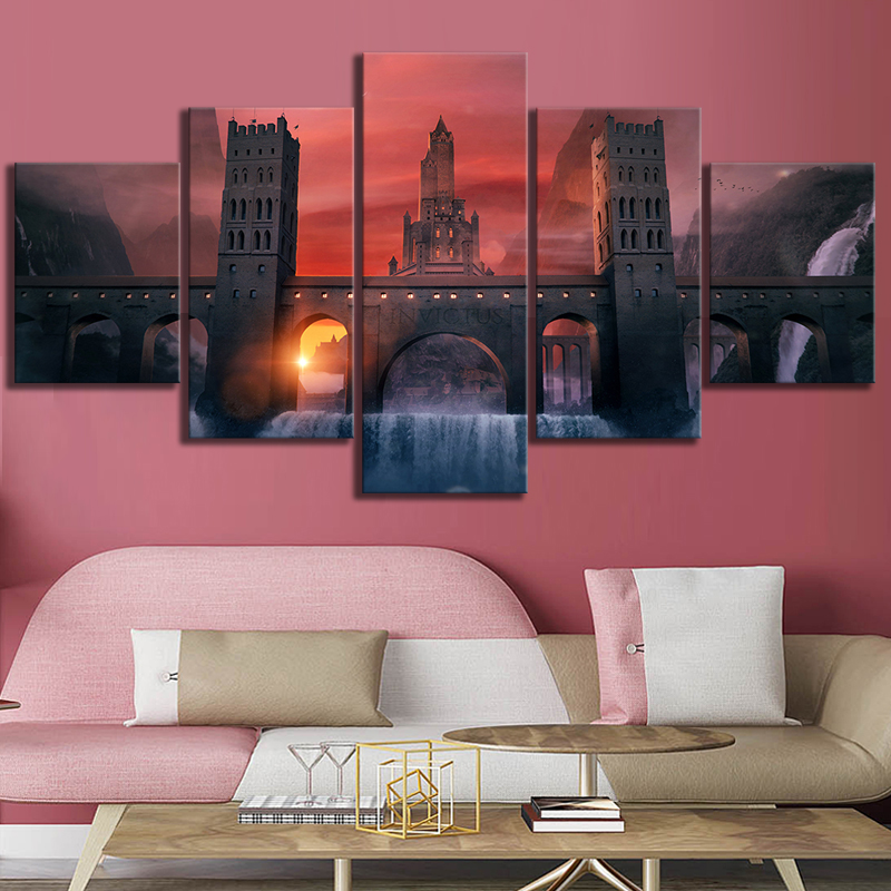 5 Piece HD Fantasy Art Video Games Poster Landscape Wall Paintings for Home Decor 2