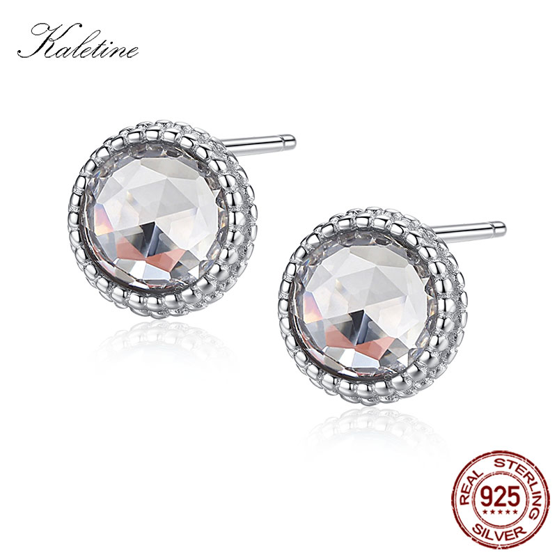 KALETINE Genuine 925 Sterling Silver Stud Earrings Clear Pink Green Blue Color Round CZ Crystal Earrings Stud Women Men Jewelry