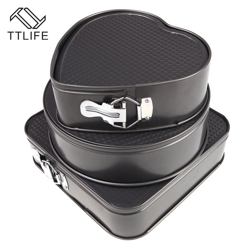 TTLIFE 3 Sets Non stick Springform Pans Cake Bake Mould Bakeware Round Heart Square Shape Kitchen