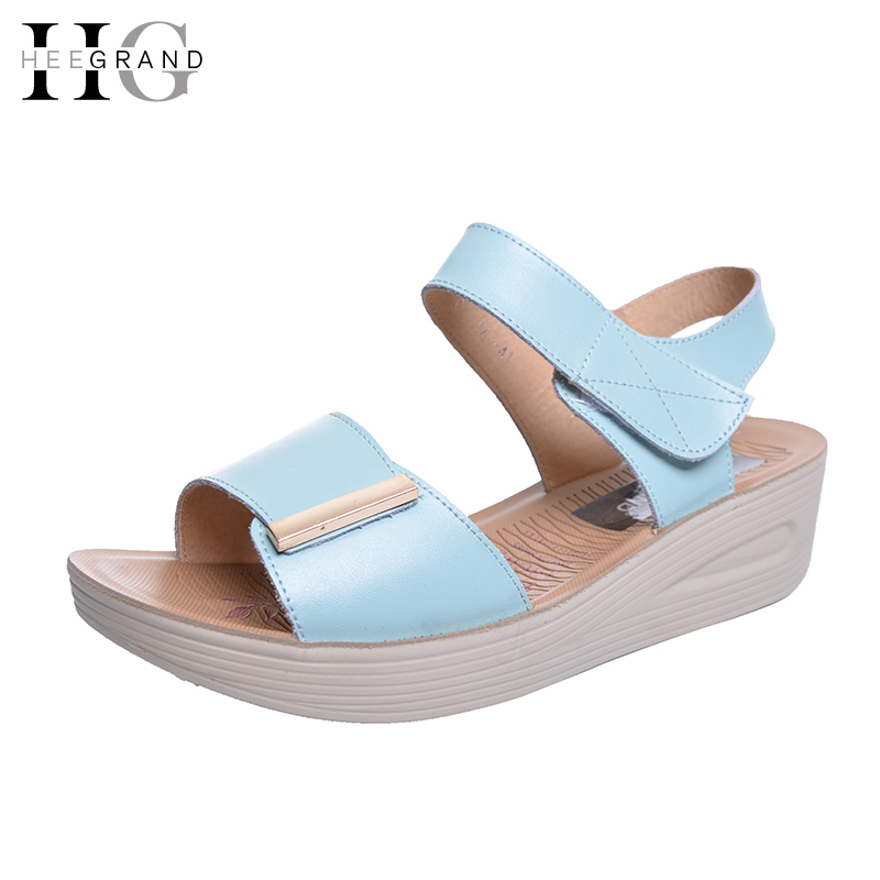 HEE GRAND 2017 Summer Wedges Sandals PULeather Shoes Woman Comfort Platform Women Shoes XWZ3862 hee grand casual wedges sandals 2017 summer beach women shoes platform buckle comfort creepers fashion shoes woman xwz3812