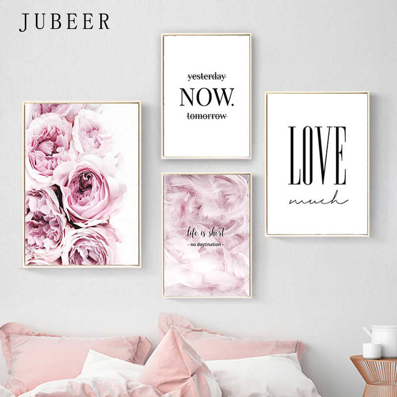 Nordic Style Posters and Prints Flowers Wall Pictures for Living Room Feather Decorative Picture Canvas Prints Home Decor