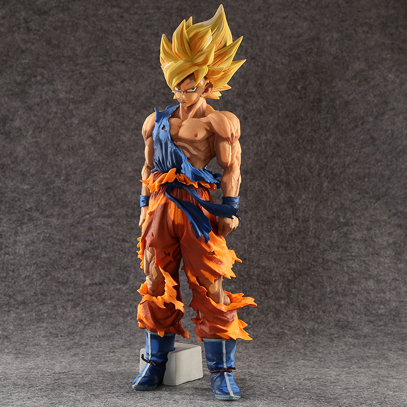 34cm Dragon Ball Z Super Saiyan Master Stars Piece The Son Goku Grey Colorful ver. PVC Action Figure Collectible Model Toys chris wormell george and the dragon
