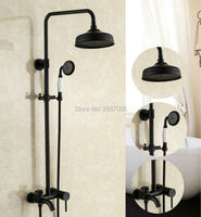 Free shipping New Durable Copper Shower Set Wall Mount Single Handle Control Rainfall Mixer Shower Black Shower Faucet Set GI295