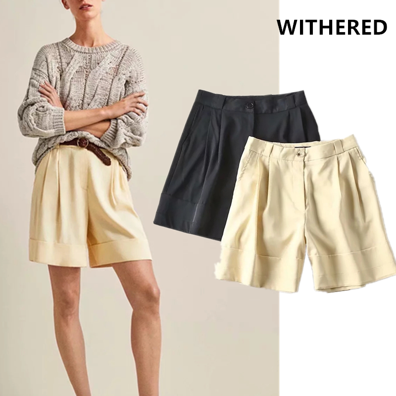 Withered 2019 Shorts Women England Urban Style Cotton Roll Up Bermuda Loose Solid Short Feminino Plus Size Women Short Plus Size