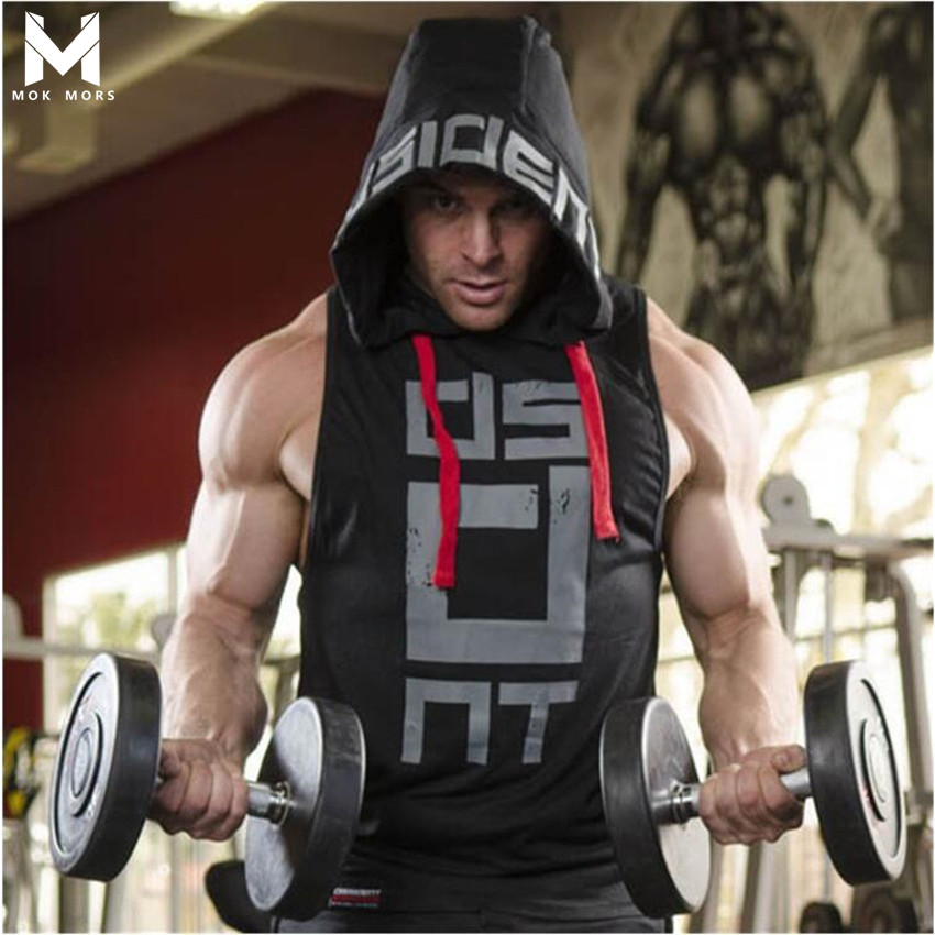 2018 New ProductsFitness Men Bodybuilding Cotton Sleeveless Top Solid Stringer Hoodie Tank Top Summer Mens hooded Shirts Cotton