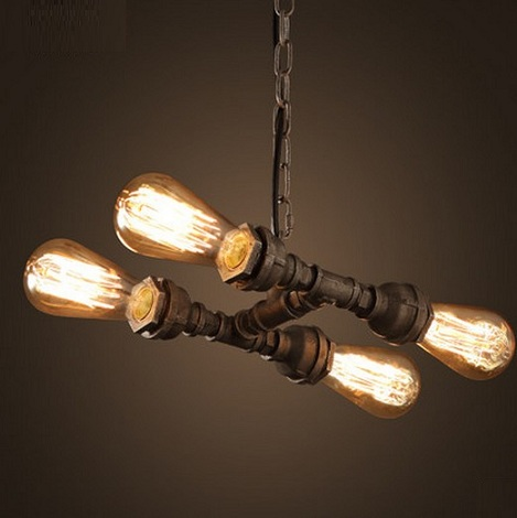 Retro Loft Style Edison Pendant Light Fixtures Metal Water Pipe Hanging Lamp Vintage Industrial Lighting Lamparas Colgantes metal rustic edison pendant light fixtures restaurant loft style lampe vintage industrial lighting retro lamp lamparas colgantes