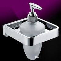 Luxe massief messing zeepdispenser/lotion dispenser, messing base met verchroomd + frosted glazen container, badkamer hardware