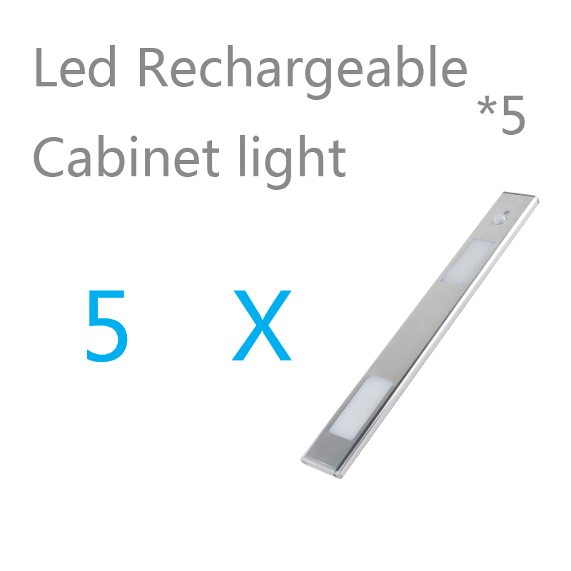 5 pcs  lot wholesale rechargeable motion sensor potable led closet lights wireless cabinet leds