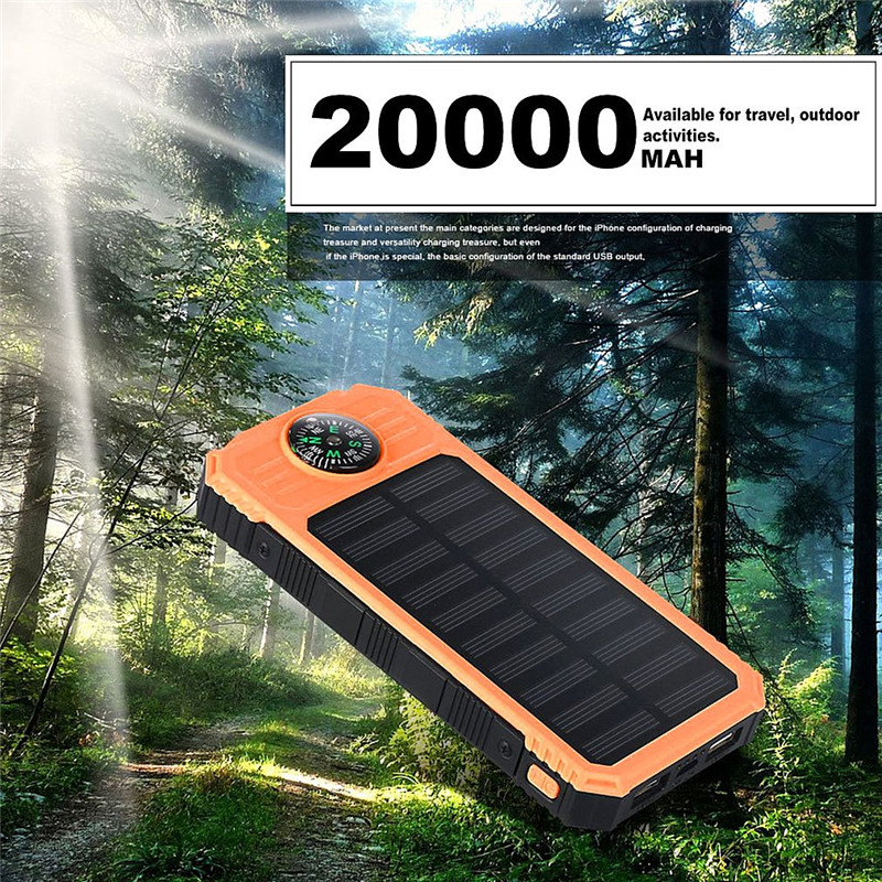 20000mAh Universal Portable Source Ultra Thin Large Capacity Solar Power Bank Phone Charging With Compass For