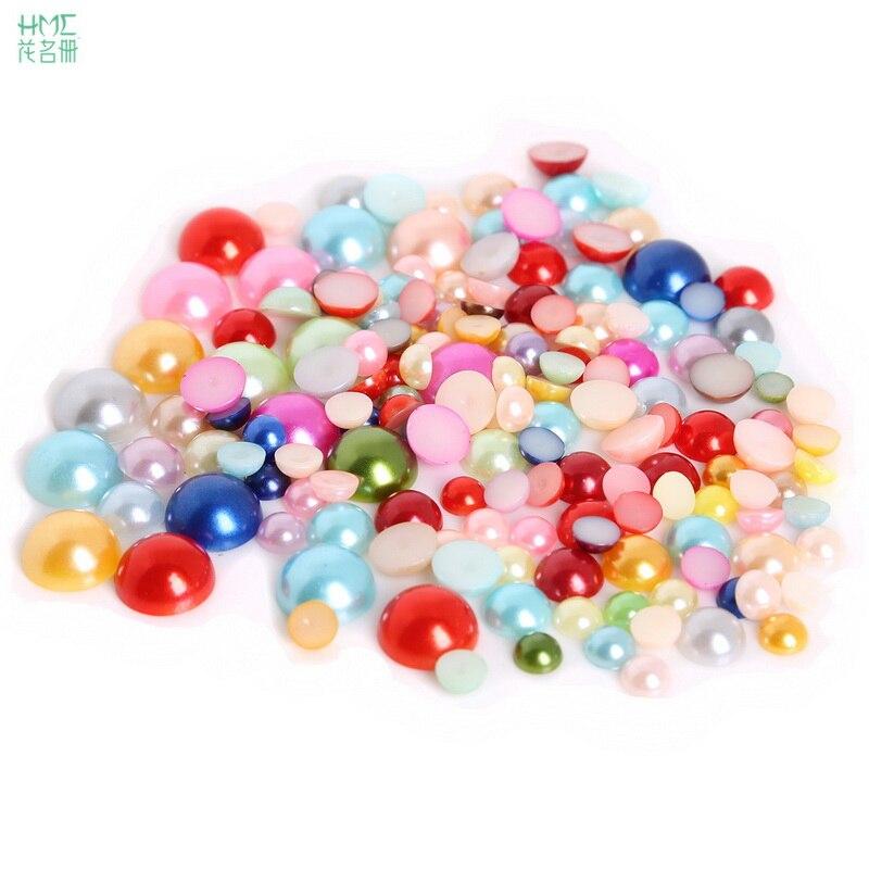 50-1000 шт. 12 Размер 3 цвета Flatback полукруглый пластик ABS имитация жемчуга бусины для DIY Ювелирные изделия Ремесло Украшение для скрапбукинга