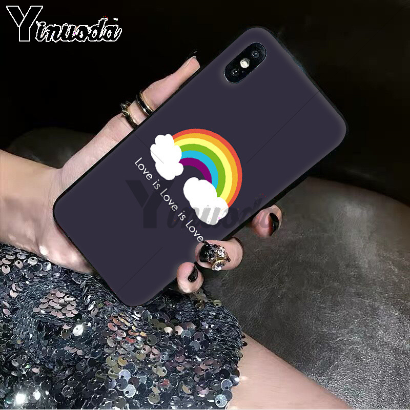 Yinuoda Gay Lesbian LGBT Rainbow Pride ART Black TPU Soft Rubber Phone Case for Apple iPhone 8 7 6 6S Plus X XS MAX 5 5S SE XR