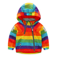 Fashion Casual Baby Boys Girls Clothes Cool Jacket Kids Rainbow Colour Windbreaker Windproof Raincoat Boys Outerwear