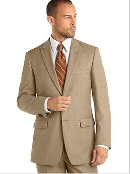 Custom Made Mens Suits Groomsmen Peak Lapel Groom Tuxedos Khaki Wedding Best Man Suit (Jacket+Pants+Tie+Hankerchief) A16