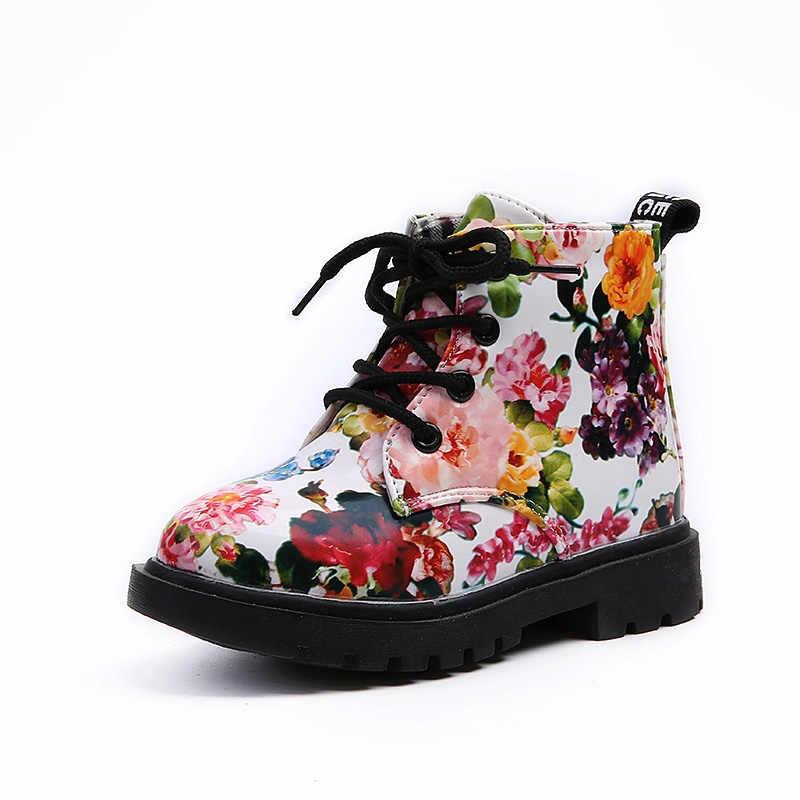 2020 น่ารักหญิงรองเท้าแฟชั่นดอกไม้พิมพ์เด็กรองเท้า Martin รองเท้าสบายๆหนังรองเท้าเด็ก SA916993