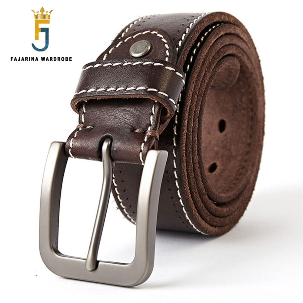 FAJARINA Men s Quality 100 Pure Genuine Leather Pin Buckle Belts for Men Leather Man Mens