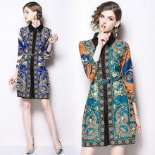 9347c4fd82634f 2018 neue Fashion Runway Designer Casual Gedruckt Kleid frauen damen Hohe  Qualität Floral Druck Vintage Kleider