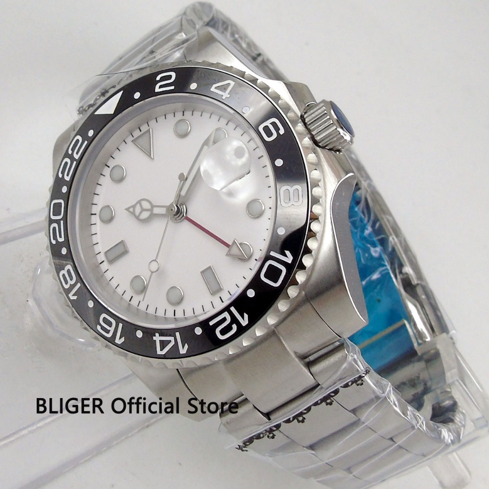 BLIGER 43mm White Sterile Dial Black Ceramic Bezel Luminous Marks GMT Function Sapphire SS Band Automatic Movement Men's Watch цена