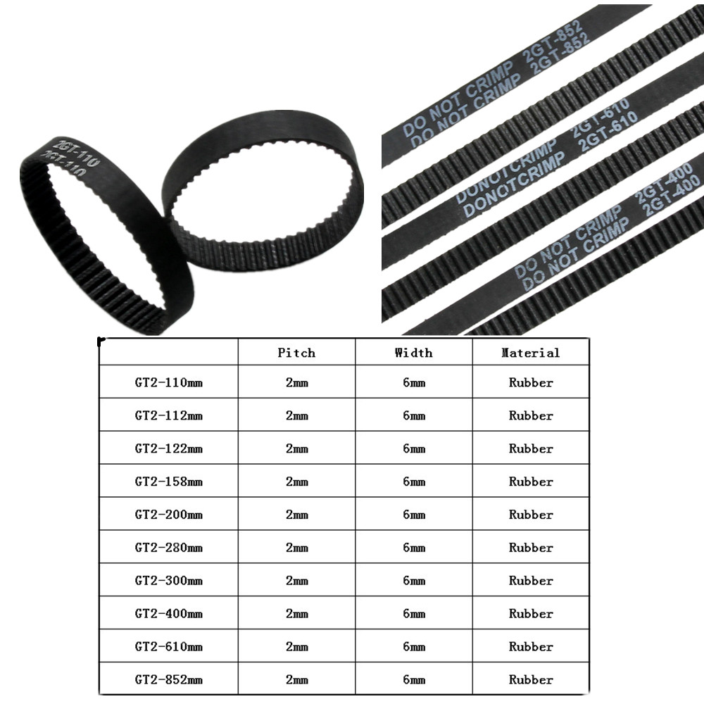 GT2 Closed Loop Timing Belt Rubber 2GT 6mm 3D Printers Parts 110 112 122 158 200 280 300 400 610 852 mm Synchronous Belts PartGT2 Closed Loop Timing Belt Rubber 2GT 6mm 3D Printers Parts 110 112 122 158 200 280 300 400 610 852 mm Synchronous Belts Part