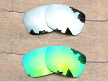 9d5b487a4d Chrome Silver   Emerald Green 2 Pairs Mirror Polarized Replacement Lenses  For TwoFace Sunglasses Frame 100