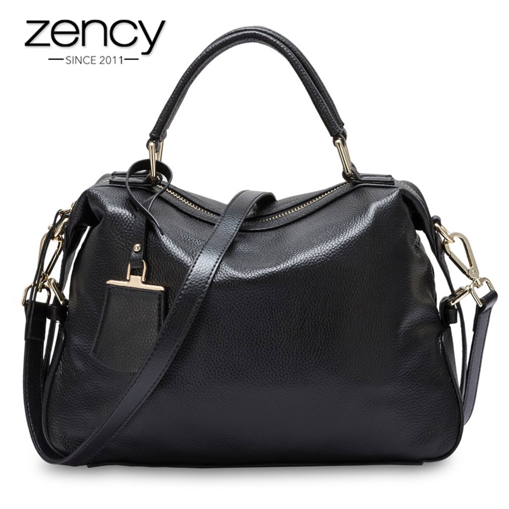 Zency Fashion Women Tote Bag 100 Genuine Leather Handbags Female Boston Charm Messenger Crossbody Purse Luxury