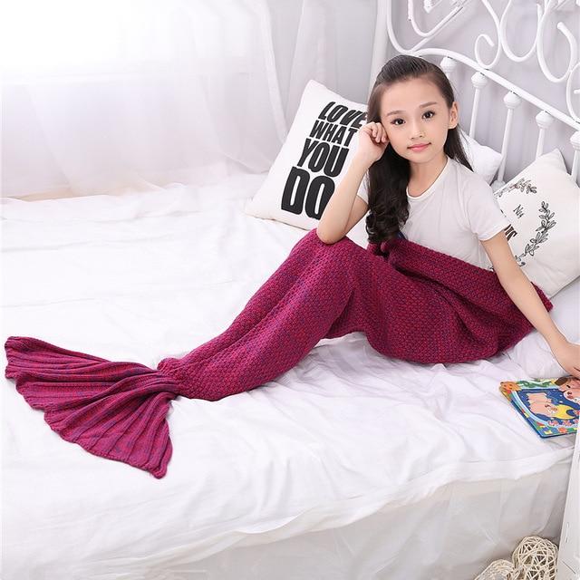 knitted Mermaid Tail blanket handmade crochet mermaid baby blanket for girls kids bed Wrap super soft sleeping bag 140*70