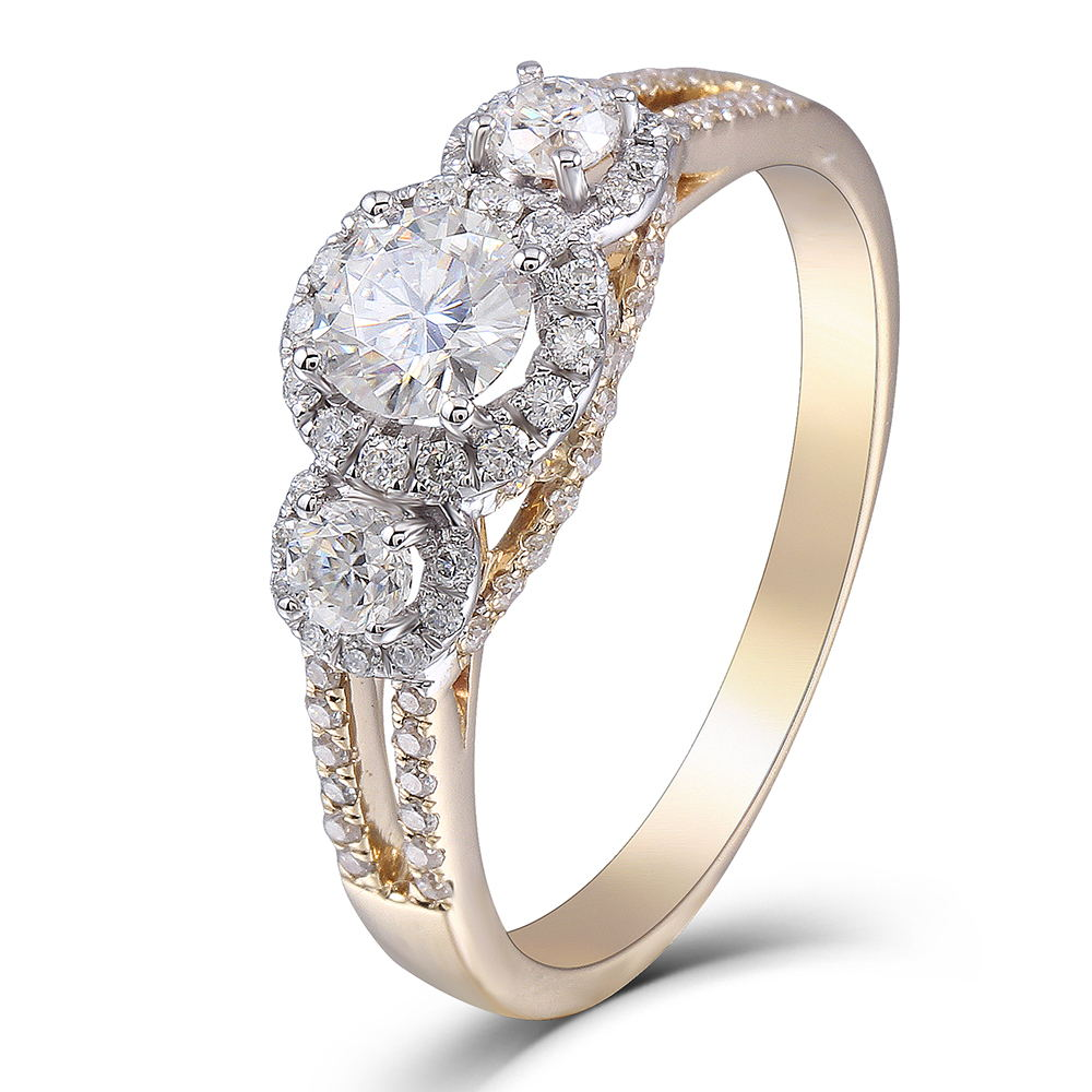 TransGems 14K White and Yellow Gold Halo Three Stone Center 0 5ct 5mm and Side 3MM F Color Moissanite Engagement Ring for Women in Rings from Jewelry Accessories
