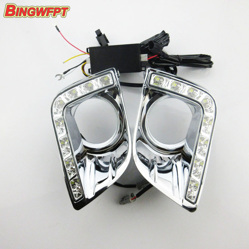 Car DRL Daytime Running Lights for Toyota Prado FJ150 LC150 2010 2011 2012 2013 Land Cruiser led light 12v with fog lamp hole car stlying 12v led daytime running light drl fog lamp decoration for toyota prado 2008 2009 2010 2011 2012 2013 2014 2015 2pcs