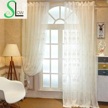 [Slow Soul] 2016 New European Simple Flower Embroidery Fabric Curtains Bedroom Living Room Screen  Curtain Luxury Cortinas Tulle