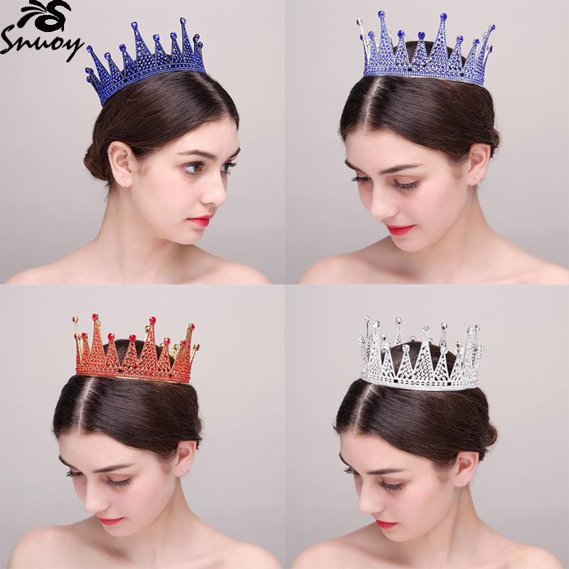 Snuoy Full Round Queen Crown Wedding Hair Accessories Blue/Red Rhinestone Crown For Women Pageant Prom Royal Diadem