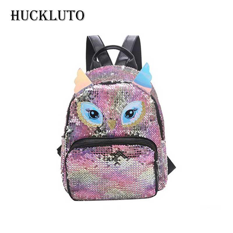 HuckLuto 2019 nouvelle réduction limitée de temps mode classique hibou Animal paillettes vert Zipper petit sac à dos en cuir femme sac à dos
