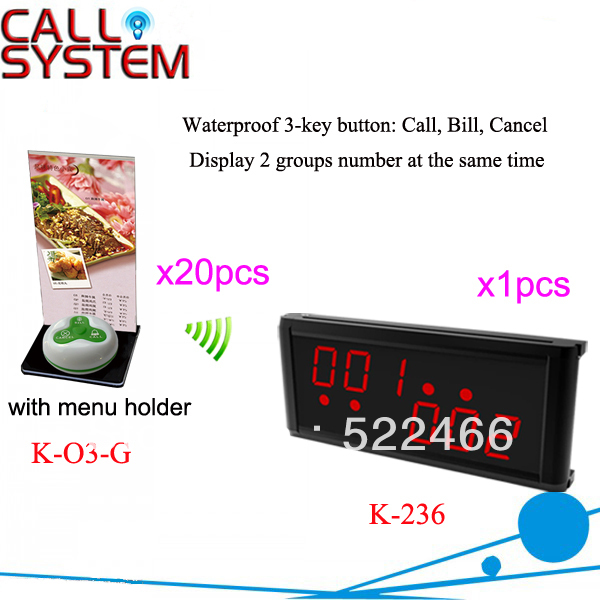 Waiter Calling System K-236+O3-G+H with call bell and display receiver for wireless and quick service DHL free shipping