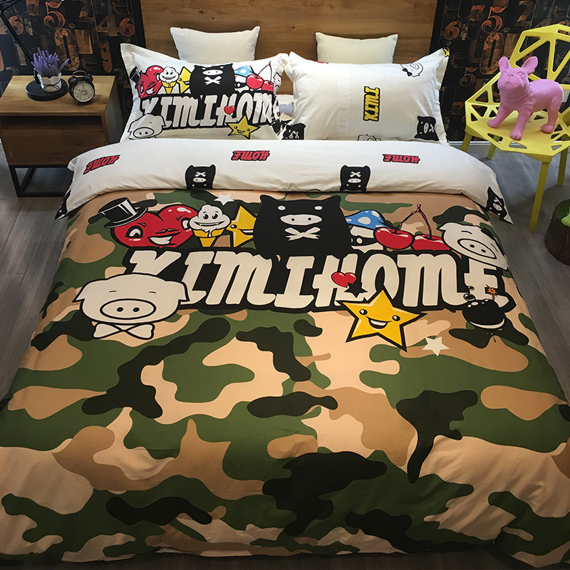 4pcs Cartoon Hippie Pug Bedding Set Queen Size Animal Cartoon Bed Set for Kids Adults Cute Pig Print Duvet Cover Home Bedclothes
