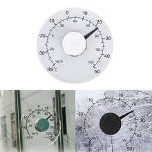 Outdoor Window Clear Fahrenheit /Celsius Degrees Circular Thermometer Hygrometer Temperature Humidity Meter Clock Weather Tool