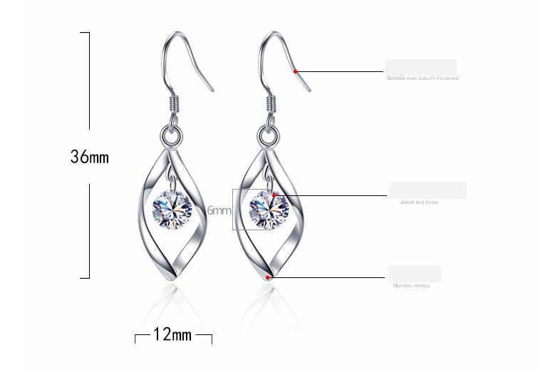 925 כסף קריסטל Stud עגילים לנשים אופנה יוקרה מעוקב Zirconia סלול חתונת עגיל תכשיטי אבזר 3Y436