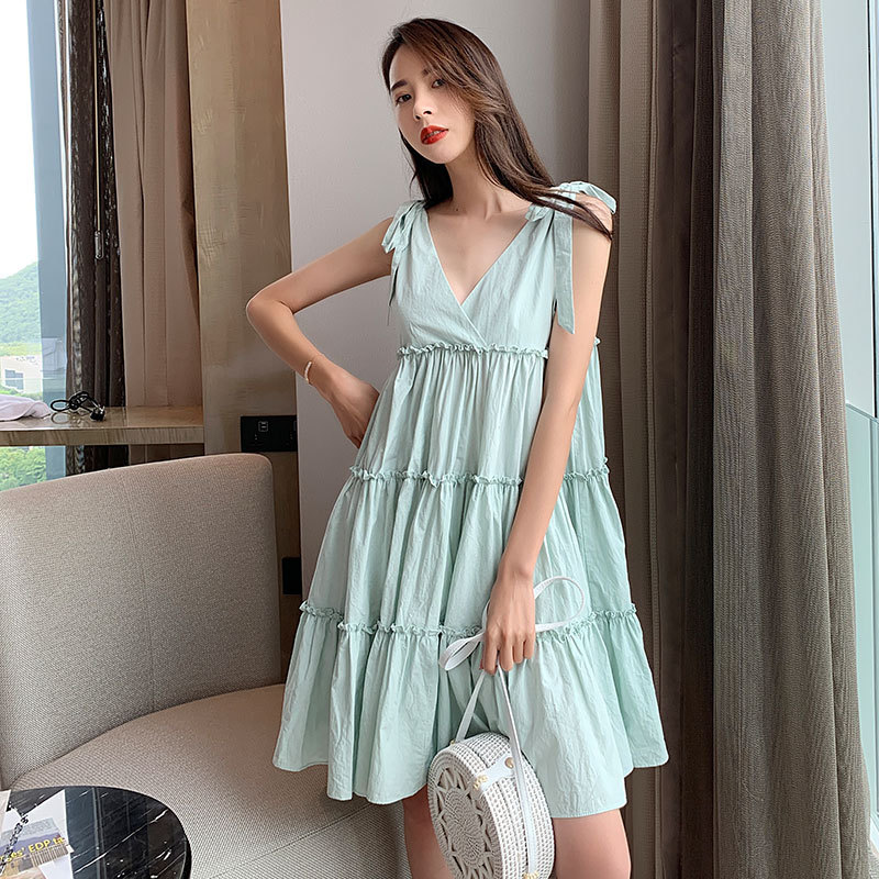 2019 Beach Dress Women Sexy Backless V Neck Blub Party Lace Up Spring Summer Autumn Runway