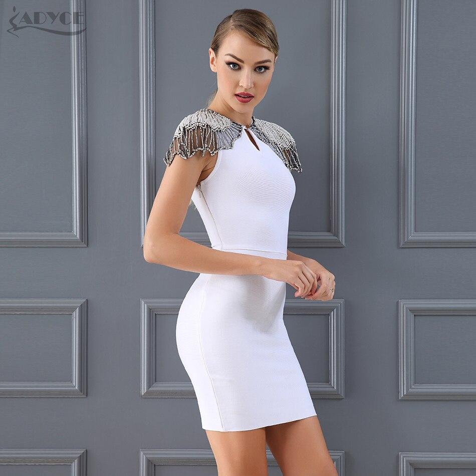 e474a523680 Adyce New Summer Bandage Dress 2019 Woman Celebrity Evening Party Dress  Vestido Sexy White Beads Diamond Mini Runway Club Dress -in Dresses from  Women s ...