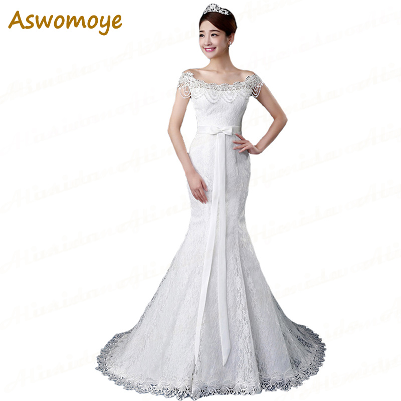 Mermaid Wedding Dress 2018 Beading Bride Dresses Ribbons Bridal Gowns Custom Made Plus Size Vestido De Noiva robe de mariage