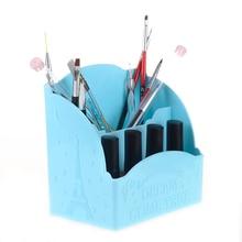 2 Compartments Makeup Pencil Vase Tower Moon Star Pattern Nail Art Brush Pen Tool Storage Holder